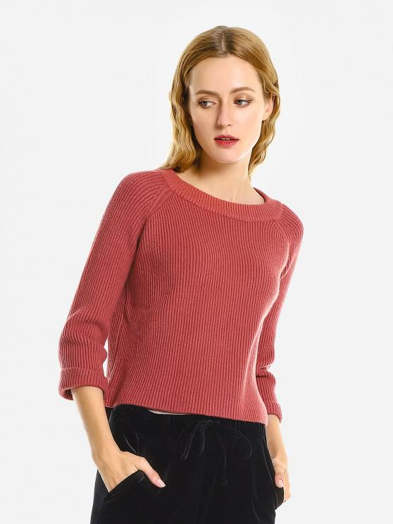 best ZAN.STYLE Crew Neckline Loose Sweater - BRICK-RED