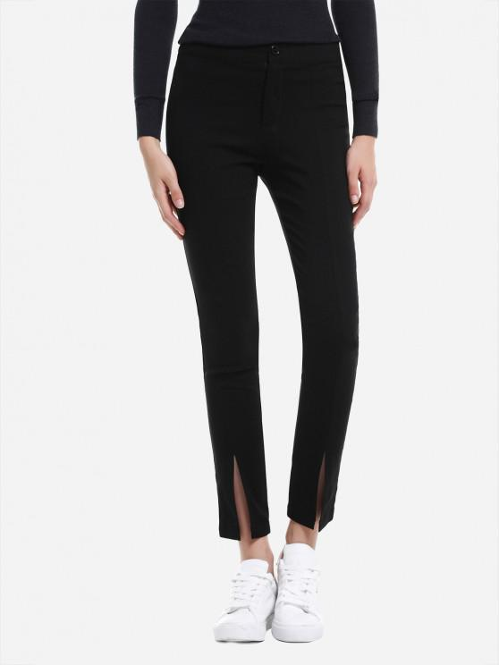 ladies ZAN.STYLE Slim Front Slit Leggings - BLACK S