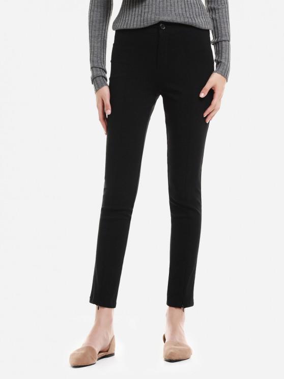 ZAN.STYLE Zipper Hem Jeans - أسود S