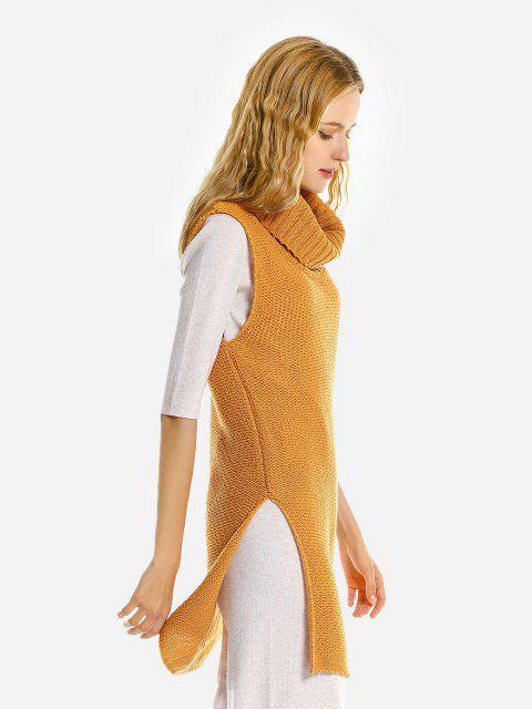 ZAN.STYLE Ärmelloser Pullover Rock - Ingwer-Gelb S Mobile