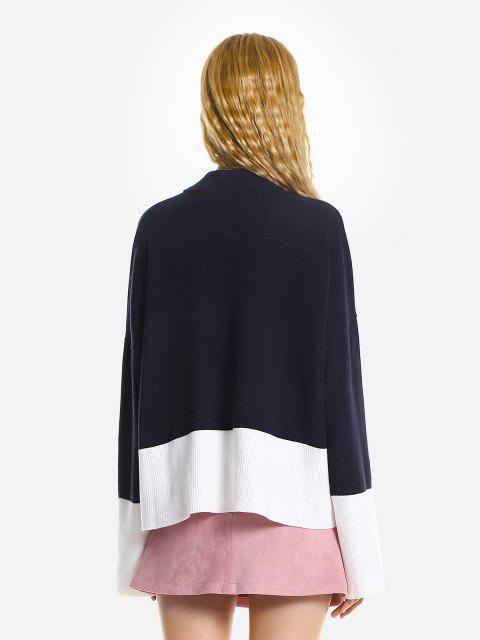 Camisola Desproporcional Rasgada Com Gargantilha Solta - Cadetblue Um Tamanho Mobile