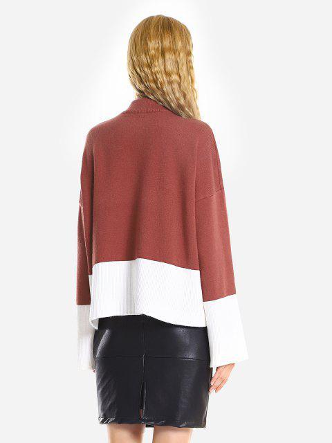 Camisola Desproporcional Rasgada Com Gargantilha Solta - Vermelho Tijolo Um Tamanho Mobile