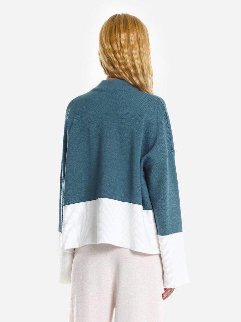 Camisola Desproporcional Rasgada Com Gargantilha Solta - Azul Um Tamanho Mobile