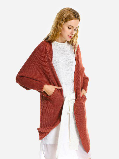 online ZAN.STYLE Loose Sweater Coat - BRICK-RED  Mobile