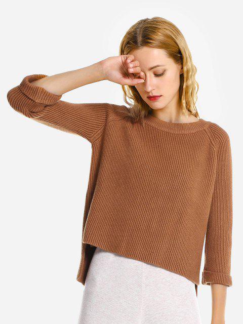 ZAN.STYLE Crew Neckline Loose Sweater - 糖/蜂蜜  Mobile