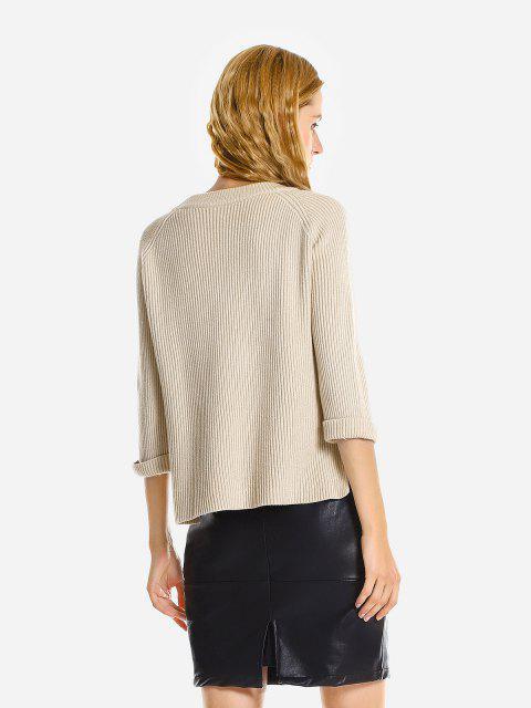 ZAN.STYLE Crew Neckline Loose Sweater - 米色  Mobile