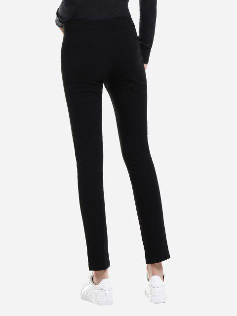 latest ZAN.STYLE Slim Front Slit Leggings - BLACK 2XL Mobile