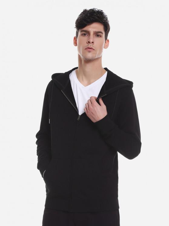 outfit ZAN.STYLE Pocket Hooded Sweatshirt - BLACK 3XL