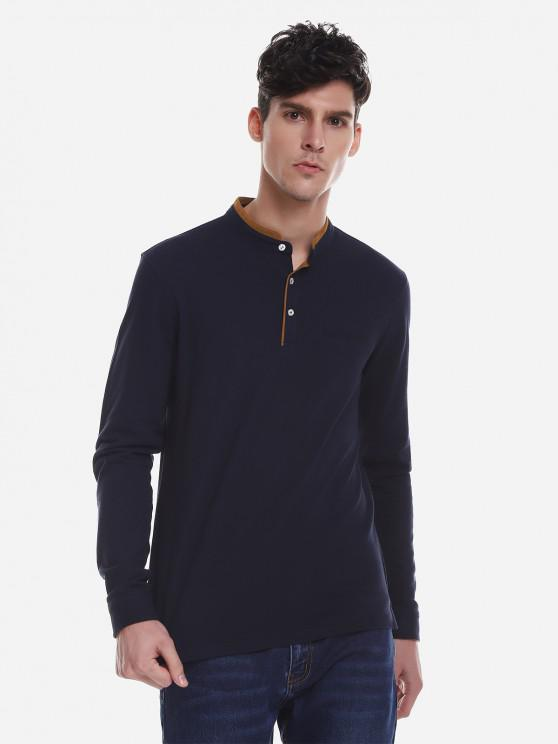 best ZAN.STYLE Contrast Color Mandarin Collar T Shirt - PURPLISH BLUE XL