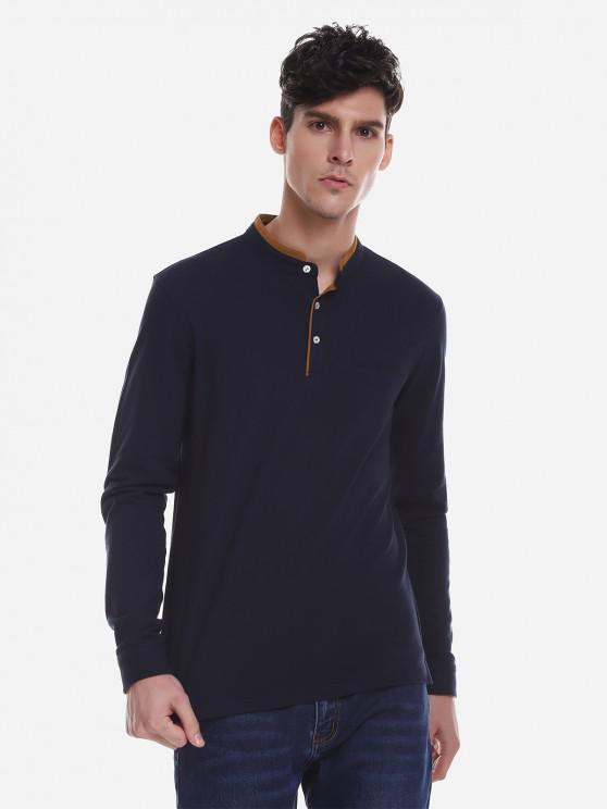 fashion ZAN.STYLE Contrast Color Mandarin Collar T Shirt - PURPLISH BLUE 2XL