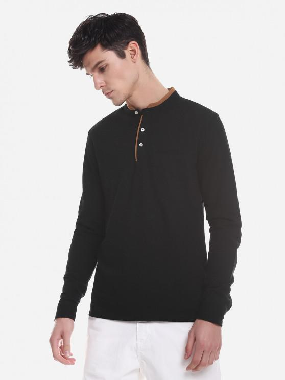 ZAN.STYLE Contrast Color Mandarin Collar T Shirt - أسود 2XL