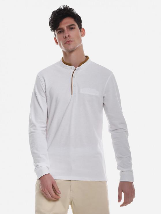 T-shirt en Couleur ContrastéeàCol Mandarin - Blanc M