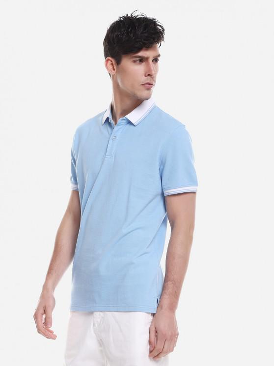 best ZAN.STYLE Contrast Color T Shirt - WINDSOR BLUE L