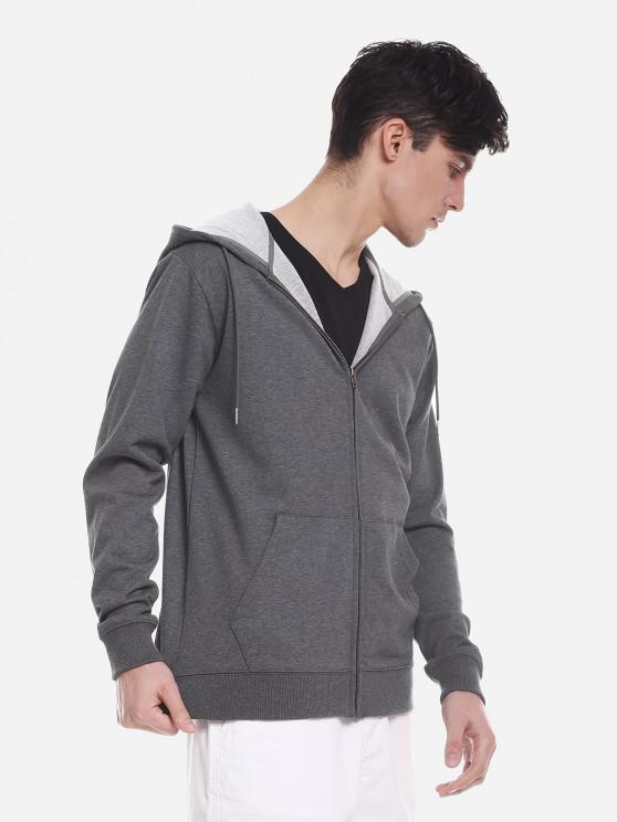 ZAN.STYLE Pocket Hooded Sweatshirt - الرمادي العميق 3XL