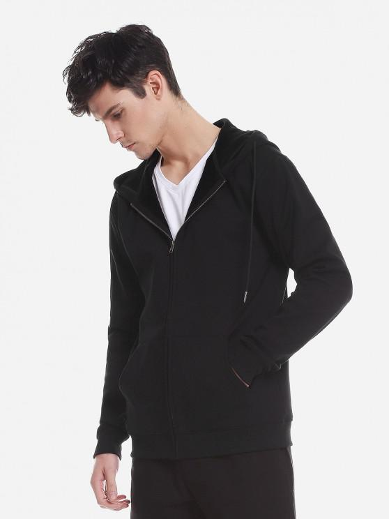 affordable ZAN.STYLE Zip Up Pocket Hooded Sweatshirt - BLACK XL