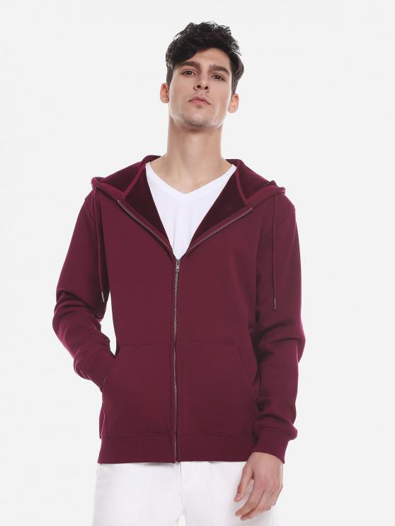 best ZAN.STYLE Zip Up Pocket Hooded Sweatshirt - WINE RED 3XL