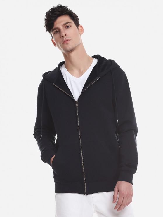 hot ZAN.STYLE Zip Up Pocket Hooded Sweatshirt - DEEP BLUE L
