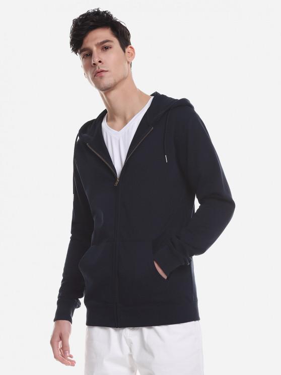 outfits ZAN.STYLE Pocket Hooded Sweatshirt - DEEP BLUE XL