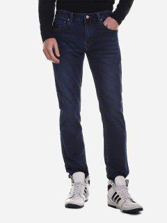 ZAN.STYLE Mid Rise Waist Washed Jeans - Denim Blue 40