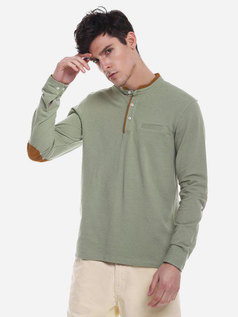 ZAN.STYLE Contrast Color Mandarin Collar T Shirt - 豌豆綠 XL Mobile