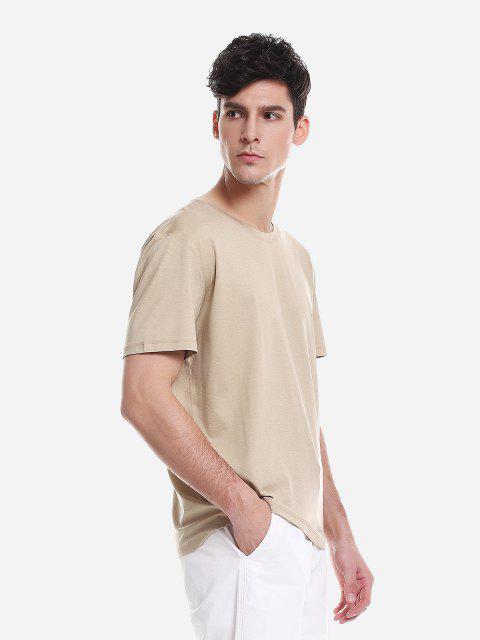 ZAN.STYLECamiseta Blanca de Cuello Redondo para Mujer - Caqui XL Mobile