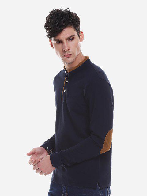 ZAN.STYLE Contrast Color Mandarin Collar T Shirt - الأرجواني الأزرق L Mobile