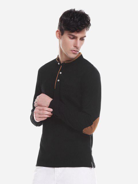 ZAN.STYLE Contrast Color Mandarin Collar T Shirt - أسود 2XL Mobile
