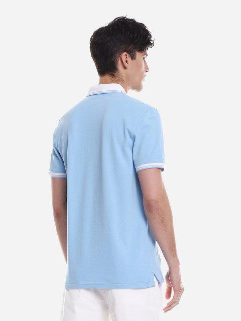 ZAN.STYLE Contrast Color T Shirt - 溫莎藍 2XL Mobile