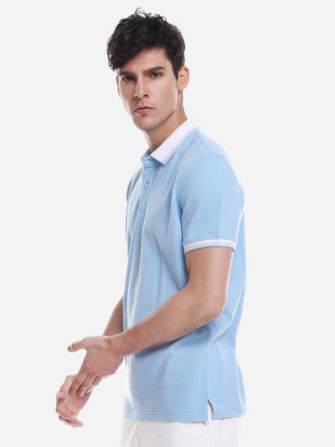 new ZAN.STYLE Contrast Color T Shirt - WINDSOR BLUE 2XL Mobile