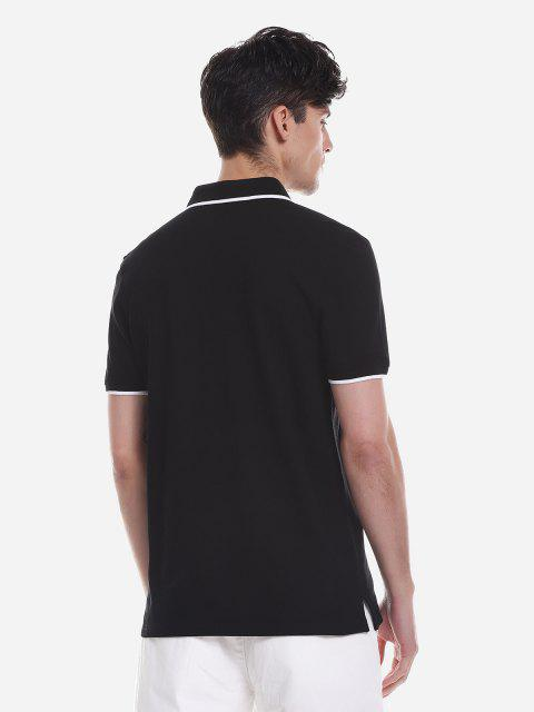 ZAN.STYLE Contrast Color T Shirt - 黑色 2XL Mobile