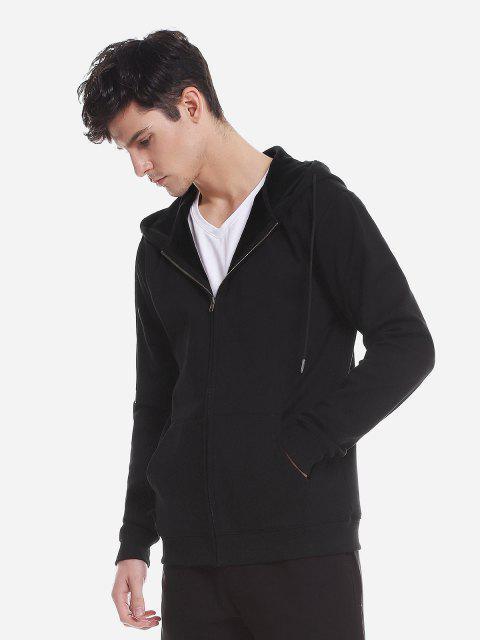 Reißverschluss Oben Taschen Hoodie Sweatshirt - Schwarz 3XL Mobile