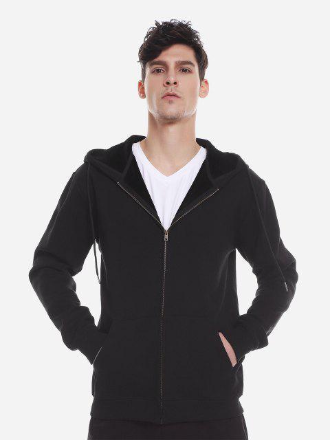 Reißverschluss Oben Taschen Hoodie Sweatshirt - Schwarz XL Mobile