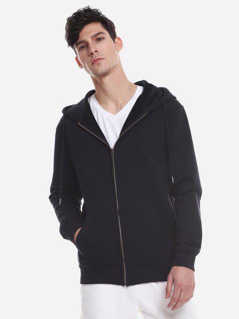 Reißverschluss Oben Taschen Hoodie Sweatshirt - Tiefes Blau M Mobile