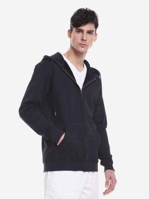 Reißverschluss Oben Taschen Hoodie Sweatshirt - Tiefes Blau 3XL Mobile