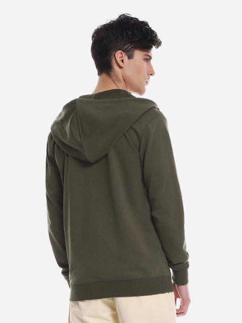 ZAN.STYLE Pocket Hooded Sweatshirt - 軍綠色 XL Mobile