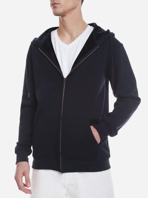 Reißverschluss Oben Taschen Hoodie Sweatshirt - Tiefes Blau XL Mobile