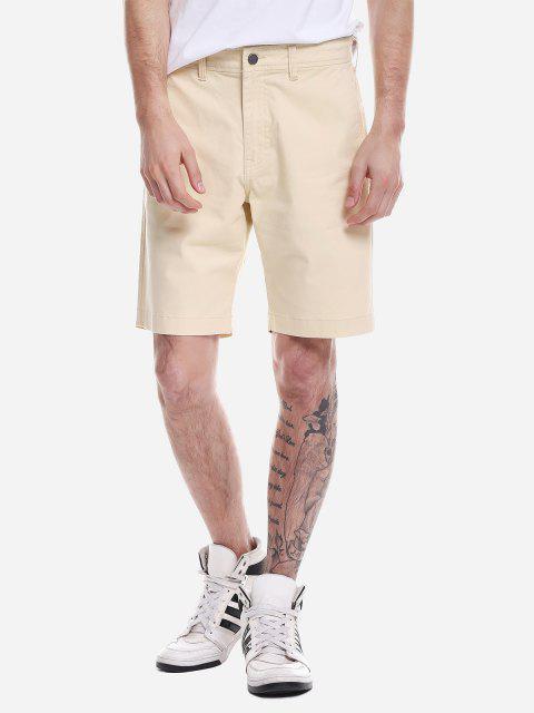 ZAN.STYLE cremallera pantalones cortos de la mosca - Caqui Claro 35 Mobile