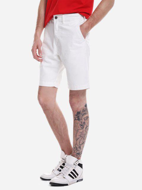 ZANSTYLE Pantalones Cortos con Cremallera - Blanco 32 Mobile