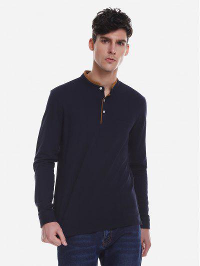 ZAN.STYLE Contrast Color Mandarin Collar T Shirt - Purplish Blue 2xl
