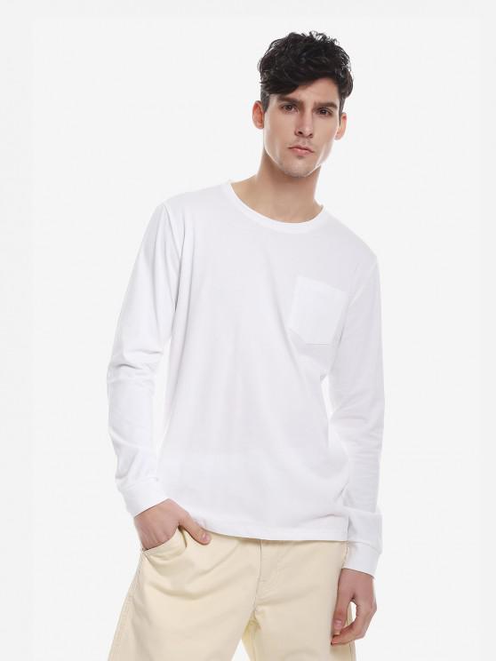 ZANSTYLE Camiseta Manga Larga con Cuello Redondo para Mujer - Blanco 2XL
