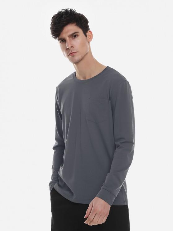 fancy ZAN.STYLE Crew Neck Long Sleeve T Shirt - CHARCOAL GRAY XL