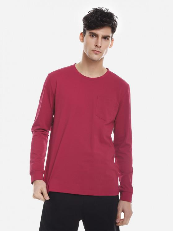 outfits ZAN.STYLE Crew Neck Long Sleeve T Shirt - WINE RED XL