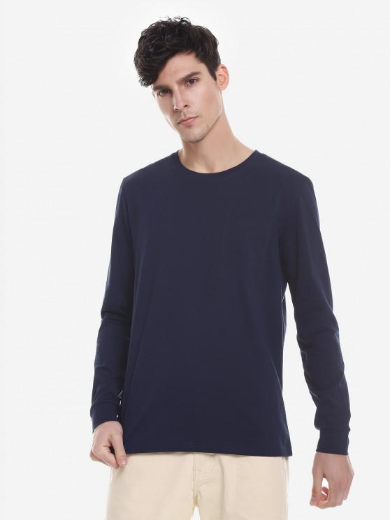 buy ZAN.STYLE Crew Neck Long Sleeve T Shirt - PURPLISH BLUE 2XL