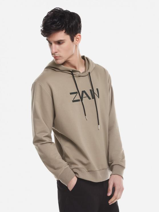 shop ZAN.STYLE Sport Casual Pullover Hoodie - KHAKI XL