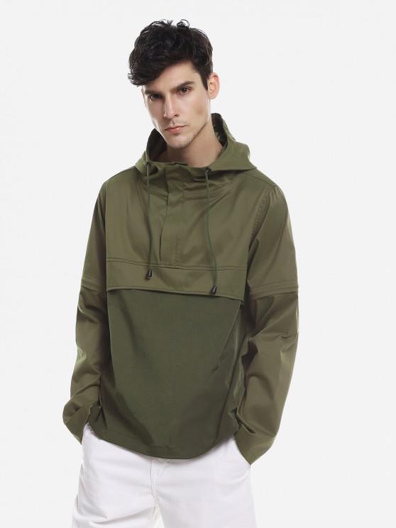 best ZAN.STYLE Spliced Windbreaker Jacket - GREEN M