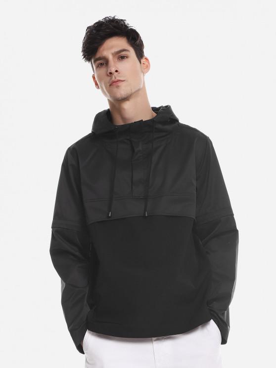 ZAN.STYLE Spliced Windbreaker Jacket - أسود 2XL