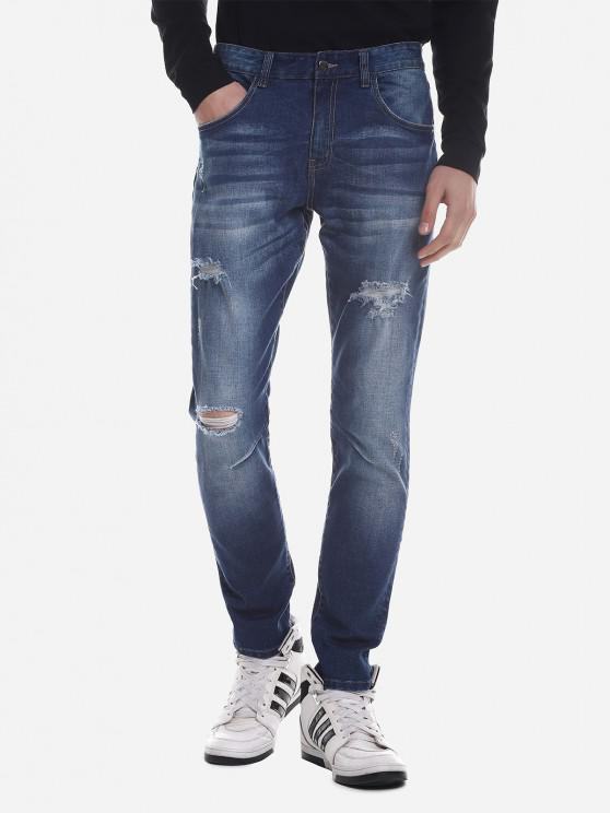 latest ZAN.STYLE Ripped Faded Skinny Jeans - BLUE 40