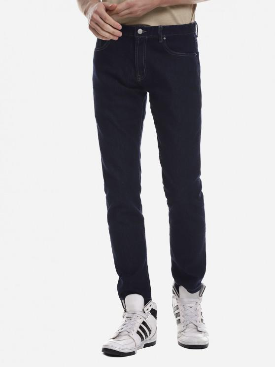 trendy ZANSTYLE Men Stretch Knit Skinny Jeans - DARK BLUE 35