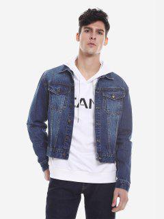 ZAN.STYLE Faded Denim Jacket - Blue Xl