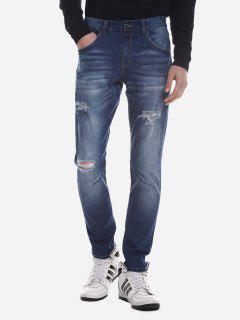 ZAN.STYLE Ripped Faded Skinny Jeans - Blue 40